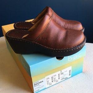 "Boc ""Bavaria"" brown leather clogs / mules sz 7"